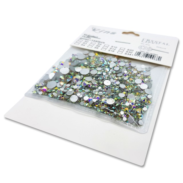 Pietricele Unghii Tip Swarovski, Marimi Diferite, 1440 buc, Reflexii Multicolore imagine produs