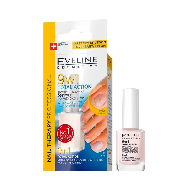 Tratament Profesional 9 in 1 Pentru Unghiile Picioarelor, Eveline Cosmetics, Total Action imagine produs