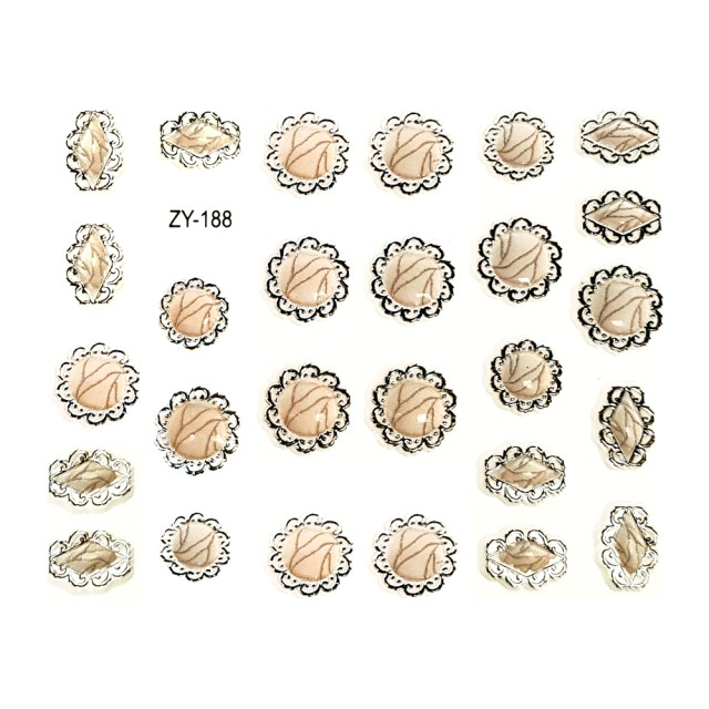 Abtibilde Unghii Autocolante, Cod ZY-188, Culoare Crem/Argintiu, Motive Ornamentale, Stickere Tatuaje si Accesorii Nails Art Unghii imagine produs