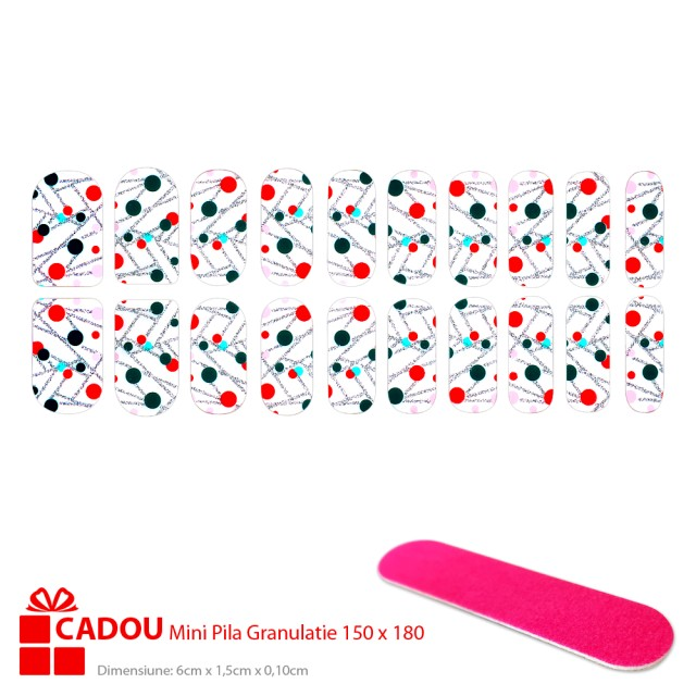 Abtibilde Unghii JY 194, Stickere Manichiura 20 Buc. + Cadou Mini Pila imagine produs