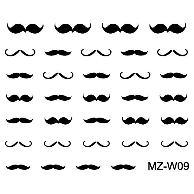 Abtibilde Unghii Mustati Negre, MZ-W09 (Abtibilduri Unghii - Tatuaje Unghii - Nail Stickere) imagine produs