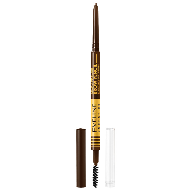 Creion cu Perie Sprancene Eveline Cosmetics Micro Precise Brow Pencil, Culoare Soft Brown imagine produs