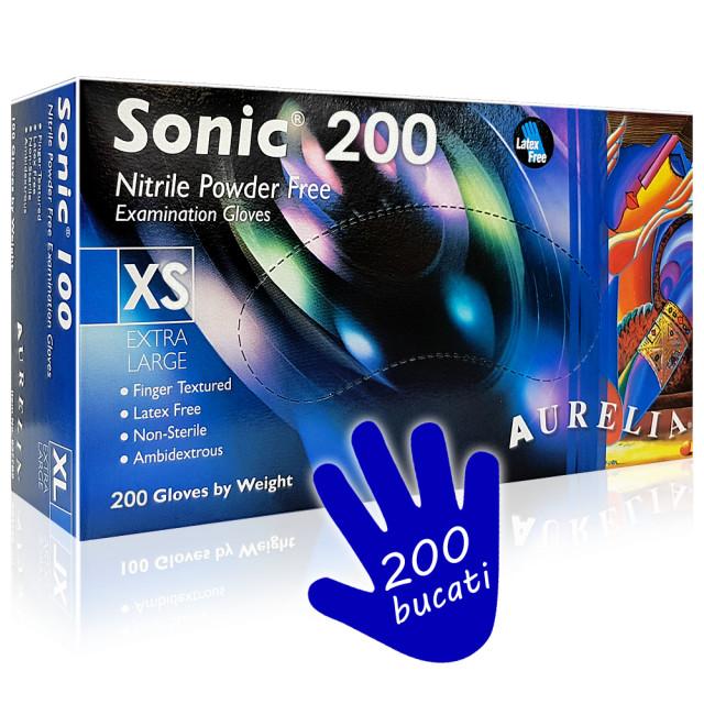 Manusi Examinare din Nitril Nepudrate Aurelia® Sonic® Indigo Cutie 200 Buc. imagine produs