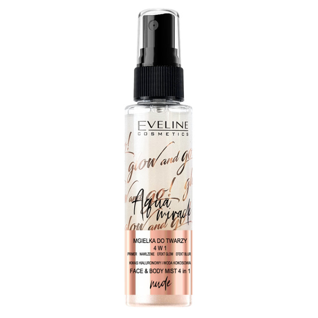 Spray Fixarea Machiaj 4in1 Nude Aqua Miracle Glow and Go Eveline Cosmetics imagine produs