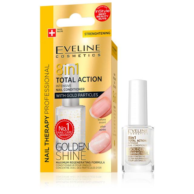 Tratament Unghii 8 in 1 Total Action Golden Shine Eveline Cosmetics, Regenerare Instant cu Particule de Aur imagine produs