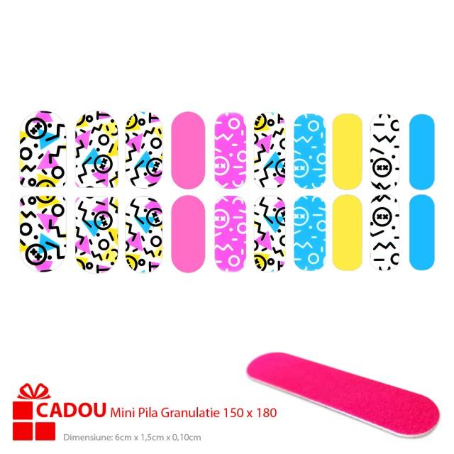 Abtibilde Unghii JY 193, Stickere Manichiura 20 Buc. + Cadou Mini Pila imagine produs