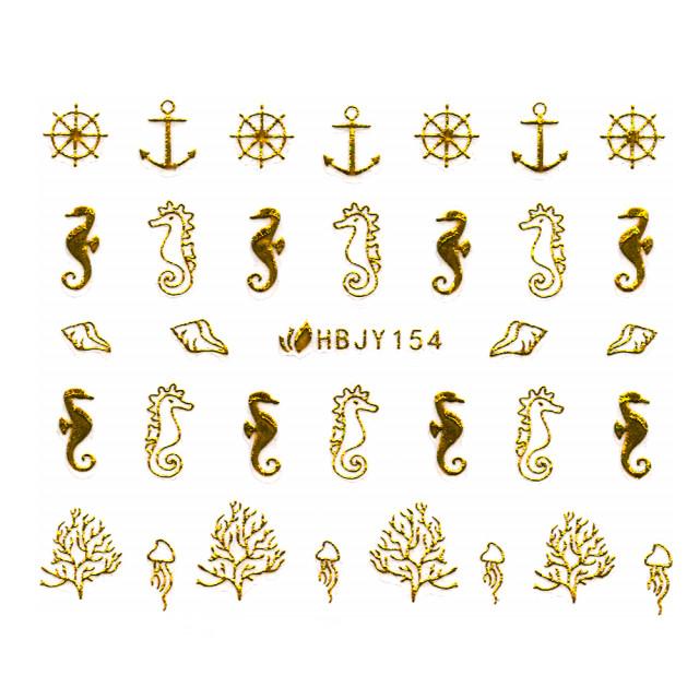 Abtibilde Unghii cu Motive Decorative Marine, Golden Navigators HBJY154 imagine produs