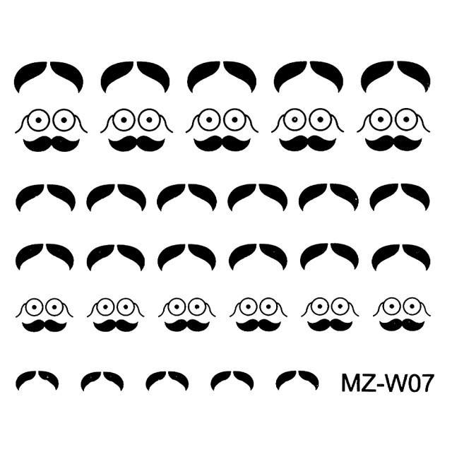 Abtibilde Unghii Mustati Negre, MZ-W07 (Abtibilduri Unghii - Tatuaje Unghii - Nail Stickere) imagine produs