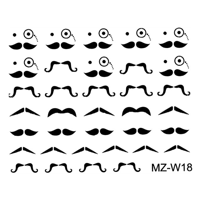 Abtibilde Unghii Mustati Negre, MZ-W18 (Abtibilduri Unghii - Tatuaje Unghii - Nail Stickere) imagine produs