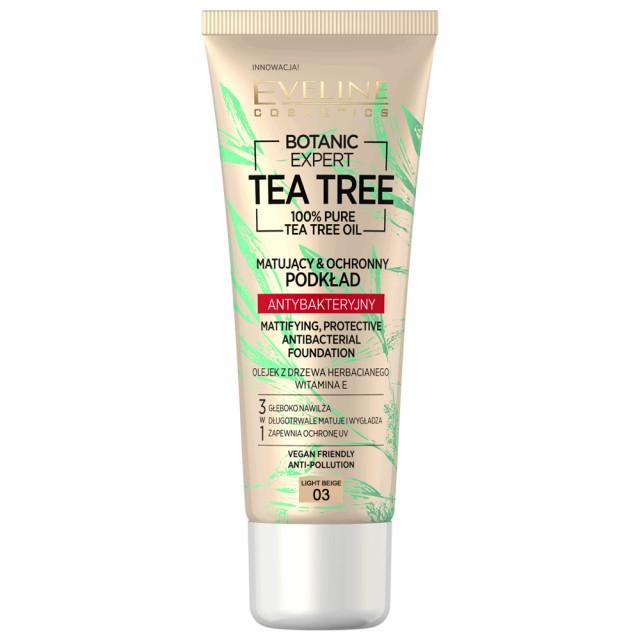Fond de Ten cu Protectie Antibacteriana Vegan 100% Pure Tea Tree Oil Eveline Cosmetics 03 Light Beige imagine produs