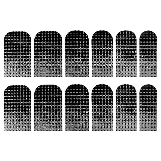 Abtibilde Unghia Intreaga 12 Buc, Dots & Silver, Stickere Unghii imagine produs