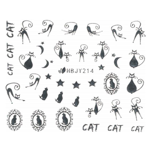 Abtibilde Unghii cu Motive Decorative Pisici, Silver Cats HBJY214 imagine produs