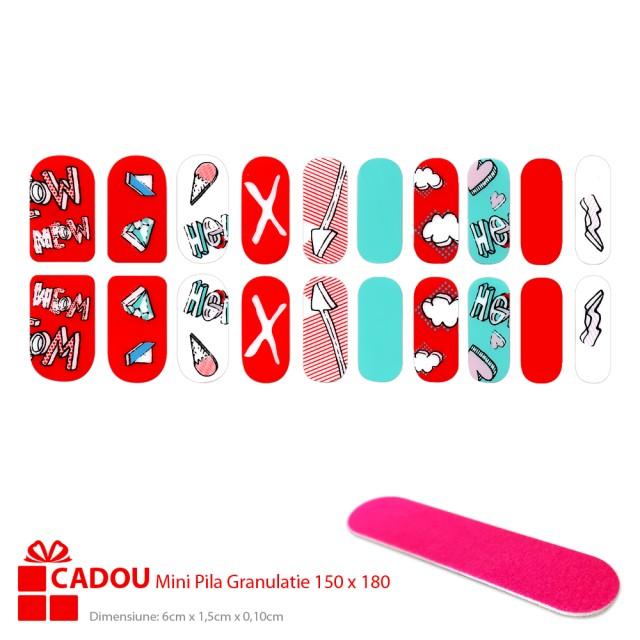 Abtibilde Unghii JY 196, Stickere Manichiura 20 Buc. + Cadou Mini Pila imagine produs