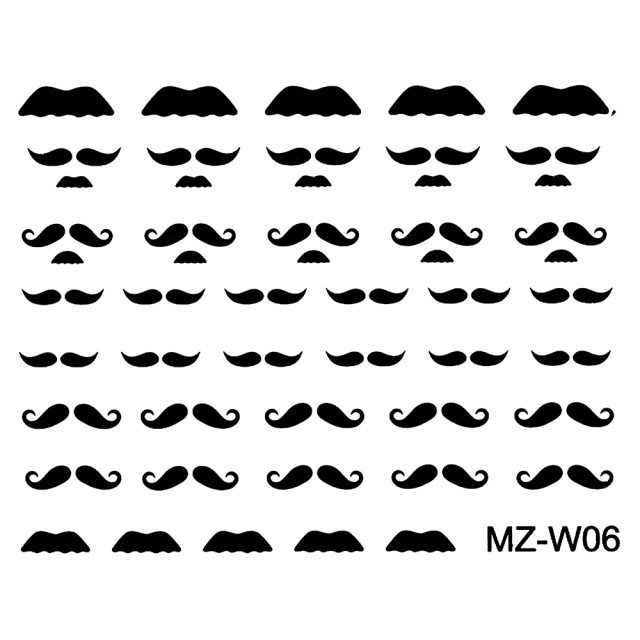 Abtibilde Unghii Mustati Negre, MZ-W06 (Abtibilduri Unghii - Tatuaje Unghii - Nail Stickere) imagine produs