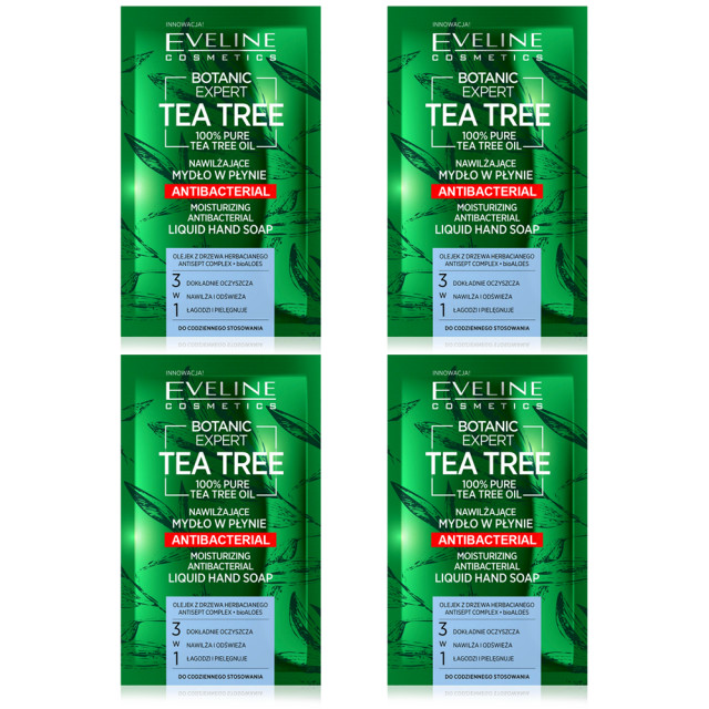 Set 4 Plicuri Sapun Lichid Hidratant Antibacterian 3in1 Botanic Expert Tea Tree Eveline imagine produs