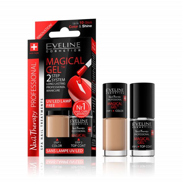 Set Lac Unghii cu Tratament si Top Coat, Magical Gel Eveline Cosmetics, No 02 imagine produs