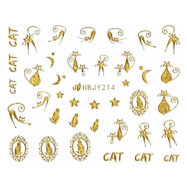 Abtibilde Unghii cu Motive Decorative Pisici, Golden Cats HBJY214 imagine produs