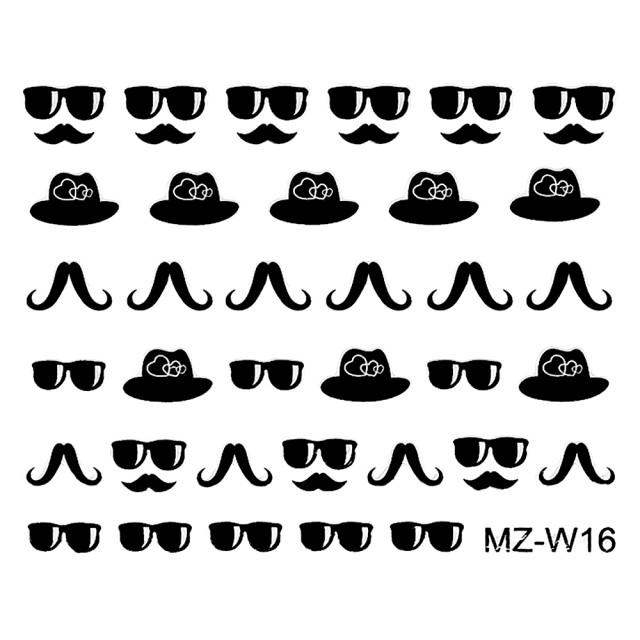 Abtibilde Unghii Mustati Negre MZ-W16 (Abtibilduri Unghii - Tatuaje Unghii - Nail Stickere) imagine produs