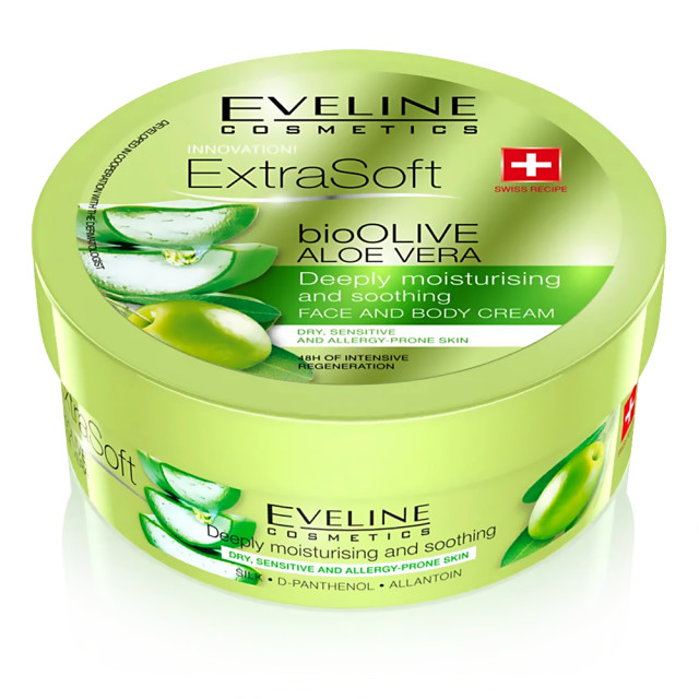 Crema Fata si Corp Eveline Cosmetics Extra Soft Bio Olive Aloe Vera imagine produs