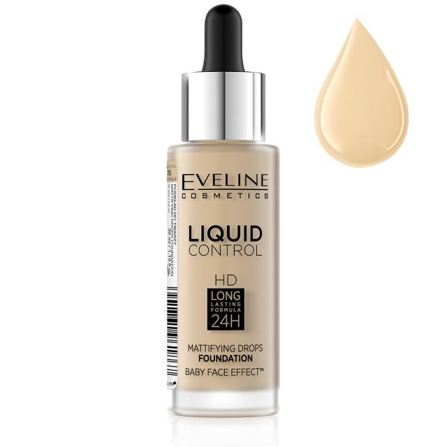Fond De Ten Eveline Cosmetics Liquid Control, 015 Light Vanilla imagine produs