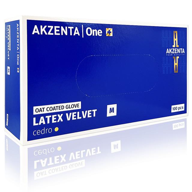 Manusi Examinare din Latex Velvet Oat Coated Cedro Akzenta 100 Buc imagine produs