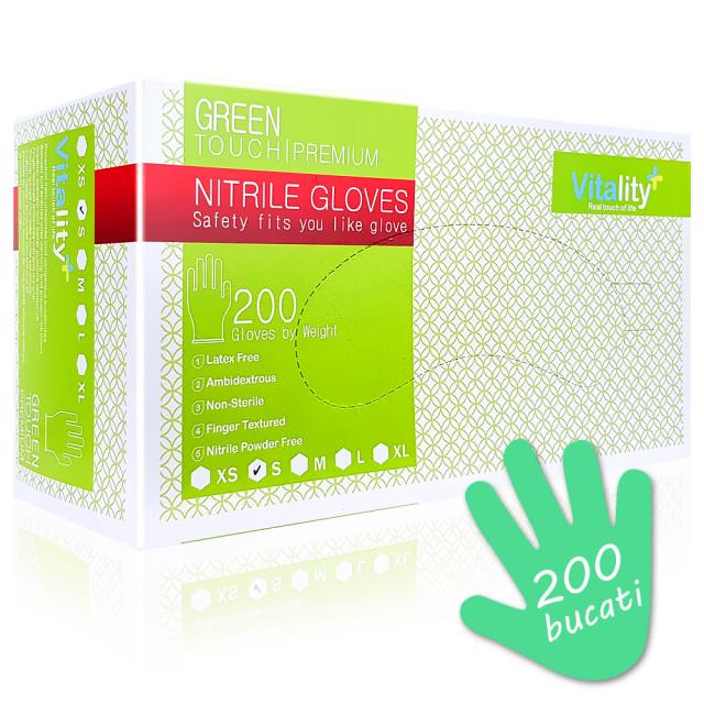 Manusi Nitril Nepudrate Verzi Vitality Green Touch Premium 200 Buc imagine produs