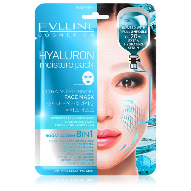 Masca de Fata Hidratare Intensa Ten cu Hialuron 8in1 Eveline Cosmetics Moisture Pack imagine produs