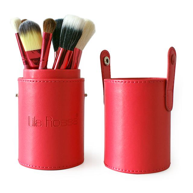 Set 12 Pensule Machiaj cu Suport Lila Rossa, Culoare Rosu imagine produs