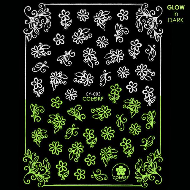 Abtibilde Unghii Glow in Dark Florescente in Intuneric Flowers CY-003 imagine produs