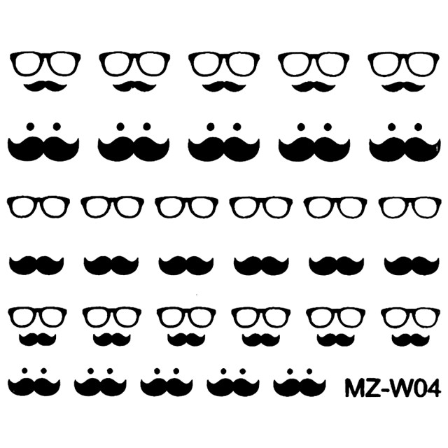 Abtibilde Unghii Mustati Negre, MZ-W04 (Abtibilduri Unghii - Tatuaje Unghii - Nail Stickere) imagine produs