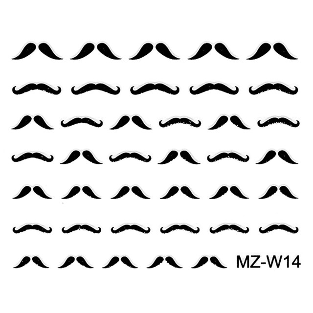 Abtibilde Unghii Mustati Negre, MZ-W14 (Abtibilduri Unghii - Tatuaje Unghii - Nail Stickere) imagine produs