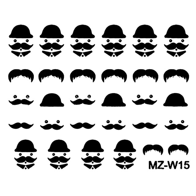 Abtibilde Unghii Mustati Negre, MZ-W15 (Abtibilduri Unghii - Tatuaje Unghii - Nail Stickere) imagine produs