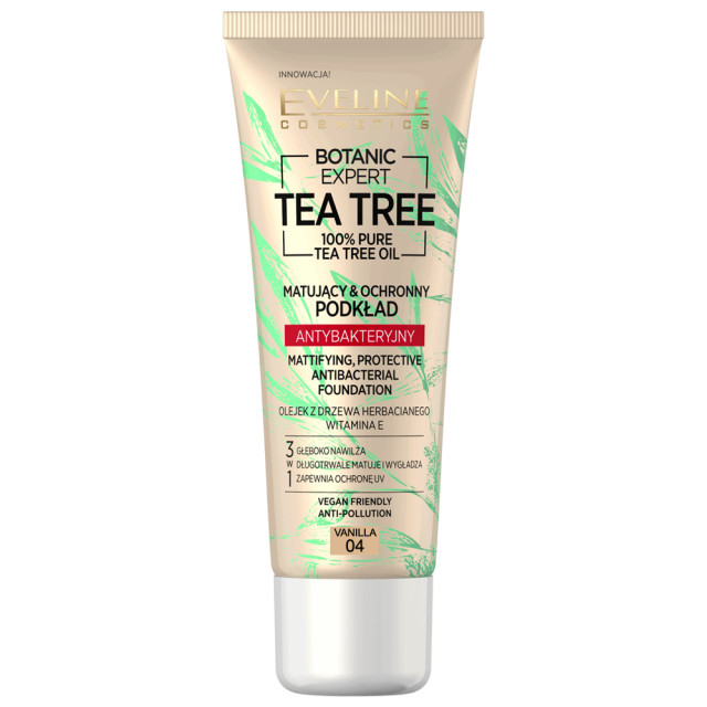 Fond de Ten cu Protectie Antibacteriana Vegan 100% Pure Tea Tree Oil Eveline Cosmetics 04 Vanilla imagine produs
