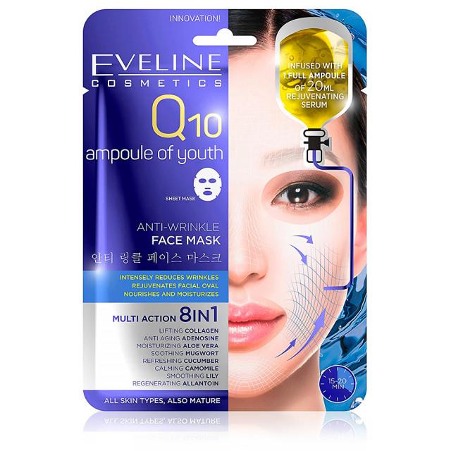 Masca de Fata Anti Riduri cu Coenzima Q10 8in1 Eveline Cosmetics Q10 Ampoule of Youth imagine produs