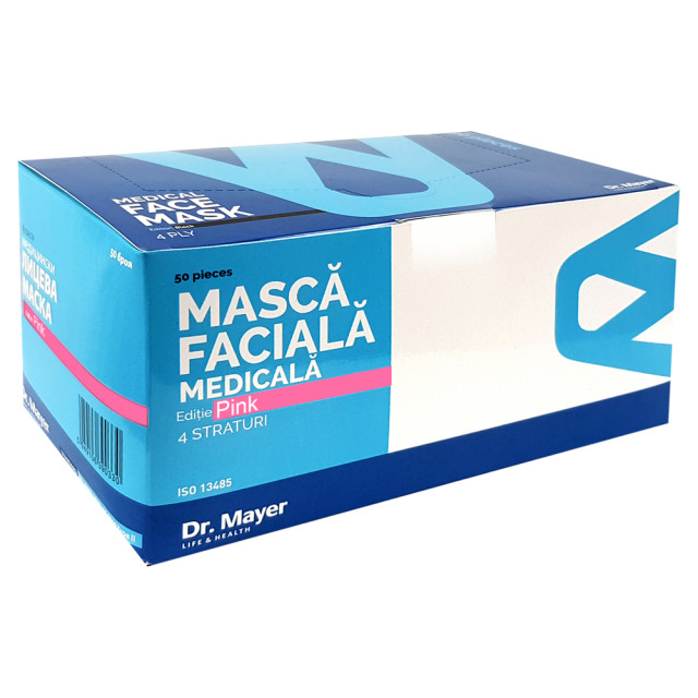 Masti Medicale Protectie cu 4 Straturi Dr. Mayer Pink Edition, Cutie 50 Bucati imagine produs