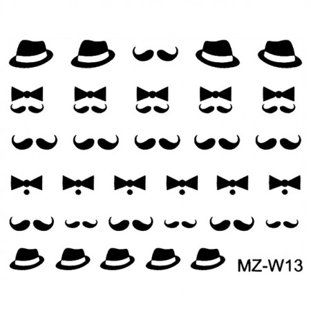 Abtibilde Unghii Mustati Negre, MZ-W13 (Abtibilduri Unghii - Tatuaje Unghii - Nail Stickere)