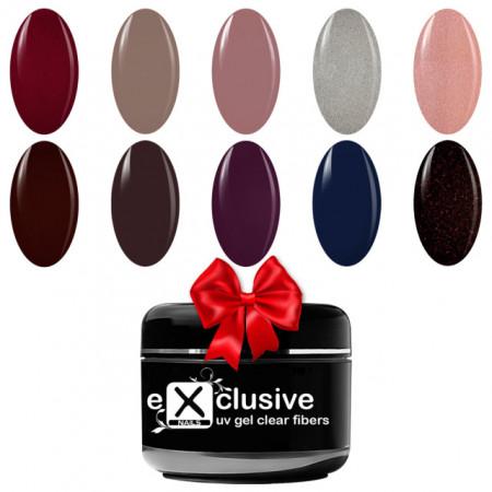 Kit Geluri Color Exclusive Premium, 10 Culori + 1 Gel Fibra de Sticla Cadou