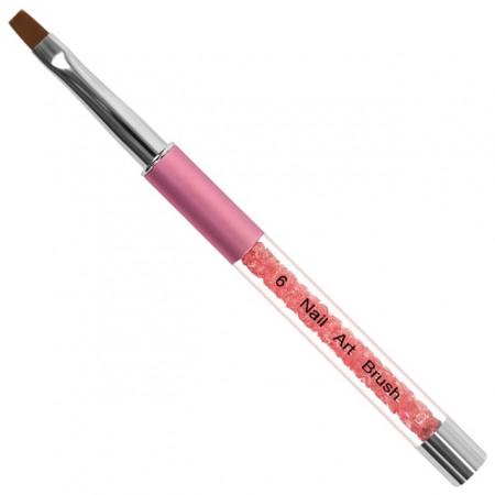 Pensula Gel cu Capac Metalic si Cristale Roz, Nr. 6