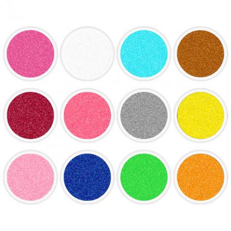 Set Sclipici Unghii Clasic 12 Culori Cod SSC-12, Accesorii Nail Art