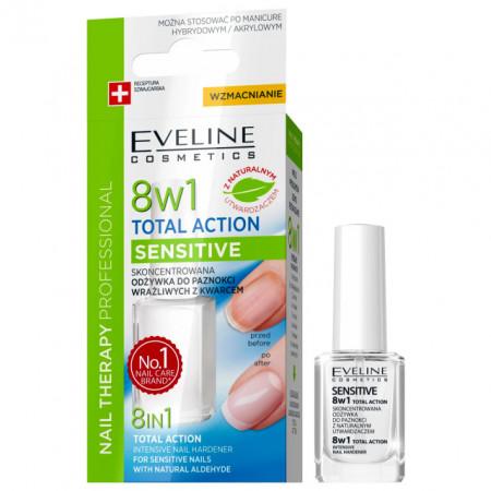Tratament Profesional 8 in 1 Total Action Sensitive, Regenerare Instant si Intaritor Unghii