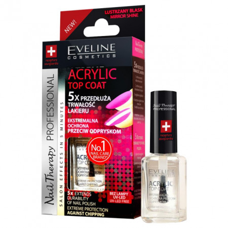 Tratament Profesional Unghii Acril Top Coat Eveline Cosmetics 5x Extends Durability