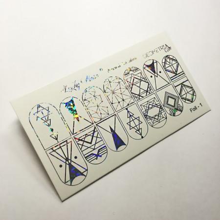 Abtibilduri Unghii pe Bază de Apă, Model GEOMETRIC FORMS, Cod Foil-1 Silver Reflctions, Accesorii Manichiura Nail Art