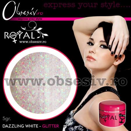 Gel colorat unghii Royal Femme DAZZLING WHITE GLITTER (Geluri Profesionale Unghii)