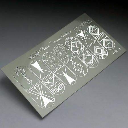 Abtibilduri Unghii pe Bază de Apă, Model GEOMETRIC FORMS, Cod Foil-1 Silver, Accesorii Manichiura Nail Art