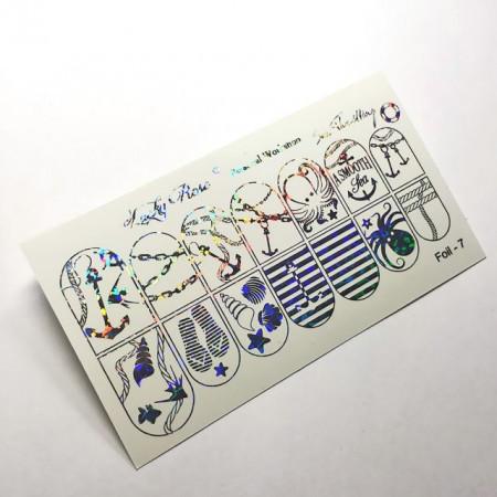 """Abtibilduri Unghii pe Bază de Apă, Model """"MARINE"""", Cod Foil-7 Silver Reflections, Accesorii Manichiura Nail Art"""