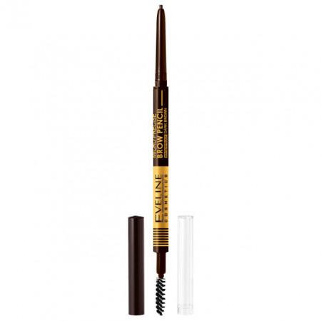 Creion cu Perie Sprancene Eveline Cosmetics Micro Precise Brow Pencil, Culoare Dark Brown