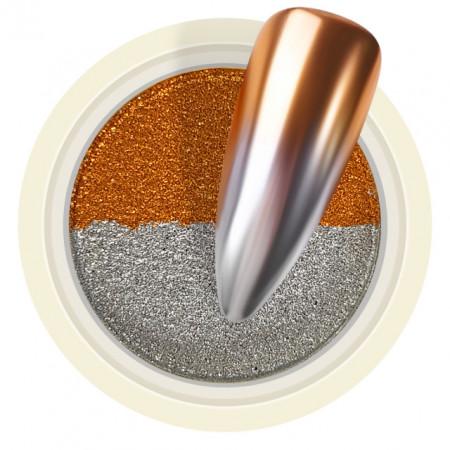 Pigment Pudra Chrome Dual Color, Culori Argintiu Bronz
