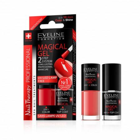 Set Lac Unghii cu Tratament si Top Coat, Magical Gel Eveline Cosmetics, No 07