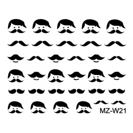 Abtibilde Unghii Mustati Negre, MZ-W21 (Abtibilduri Unghii - Tatuaje Unghii - Nail Stickere)