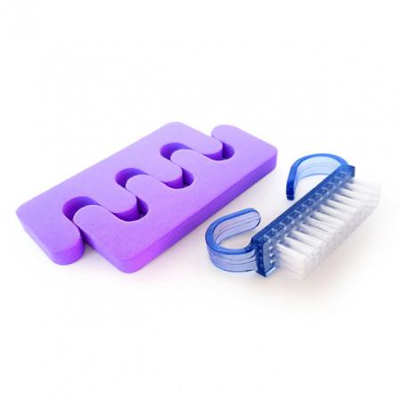 Separator Degete Picioare si Perie, Set Pedichiura Purple